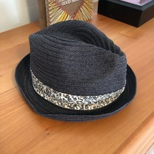 Straw Hat with Floral Trim
